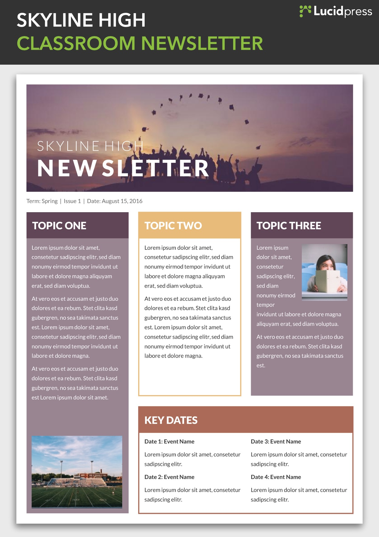 skyline high classroom newsletter template - Newsletter Design Ideas