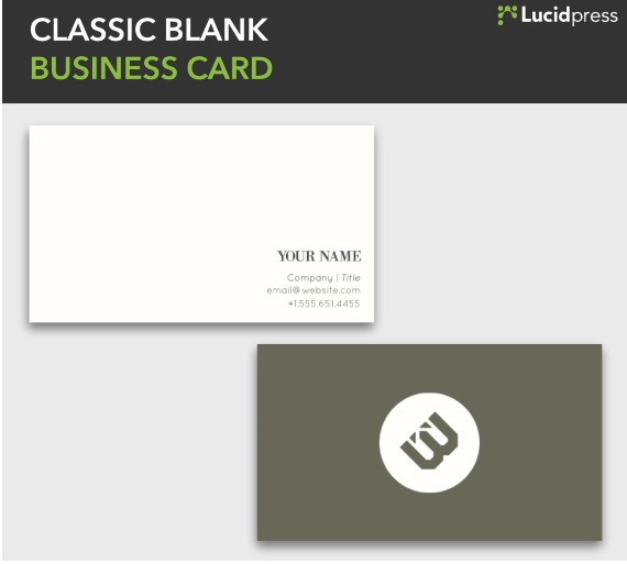 Lucidpress Classic Blank Simple Business Card