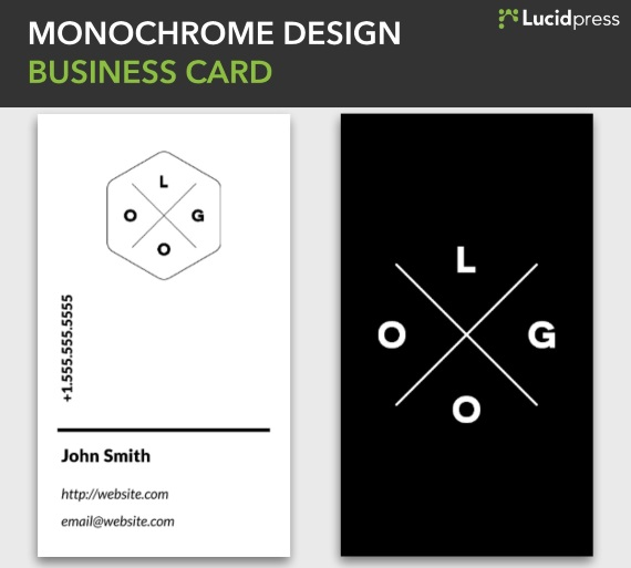 lucidpress monochrome design vertical business card