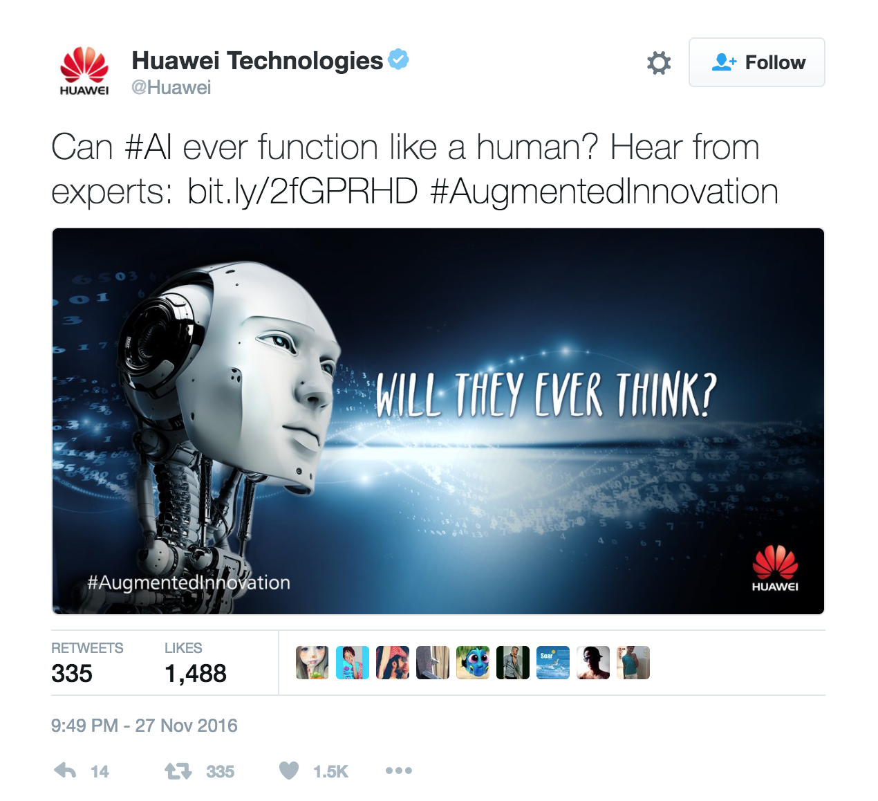 B2B social media campaign, Huawei on Twitter