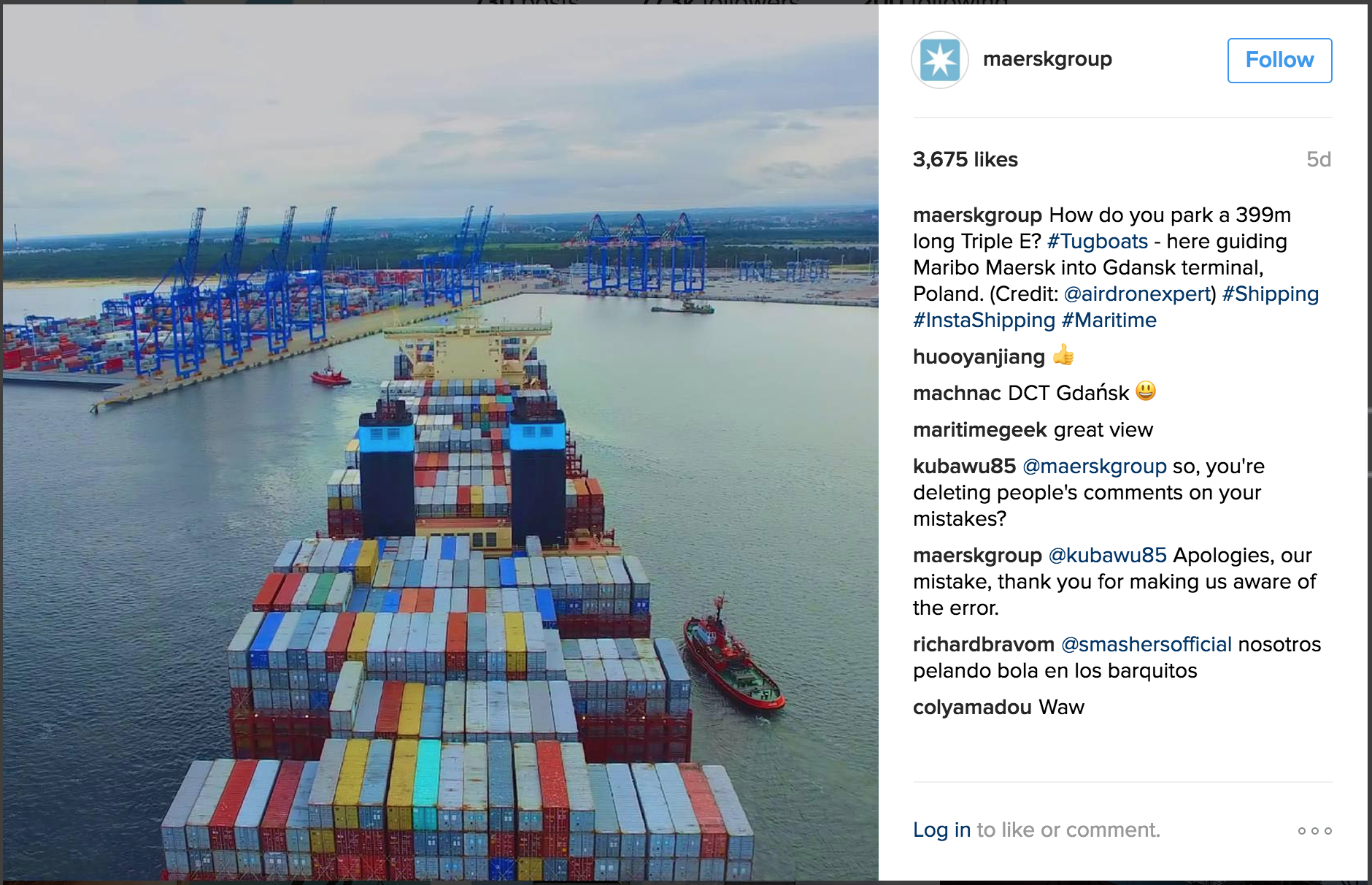 B2B social sharing, Maersk on Instagram