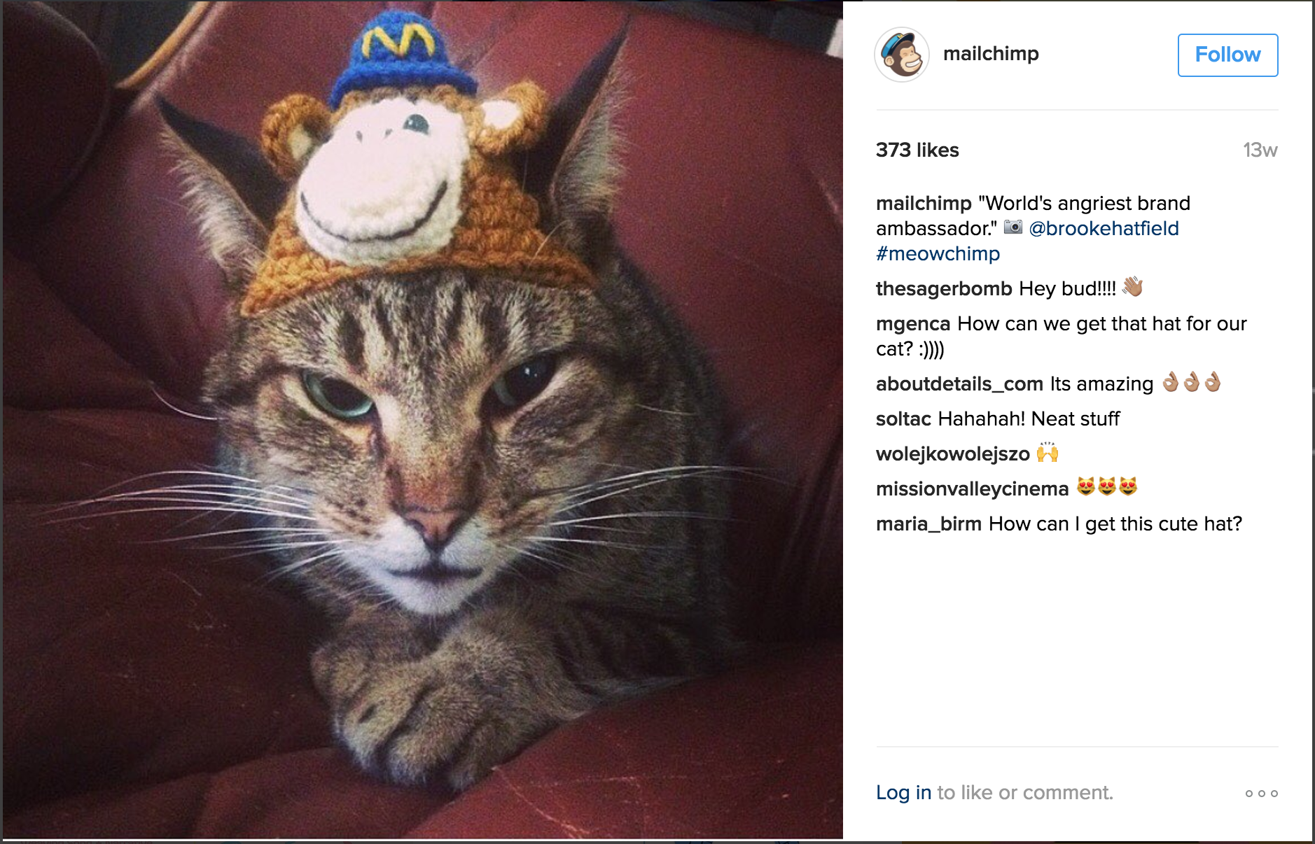 B2B social media, MailChimp on Instagram