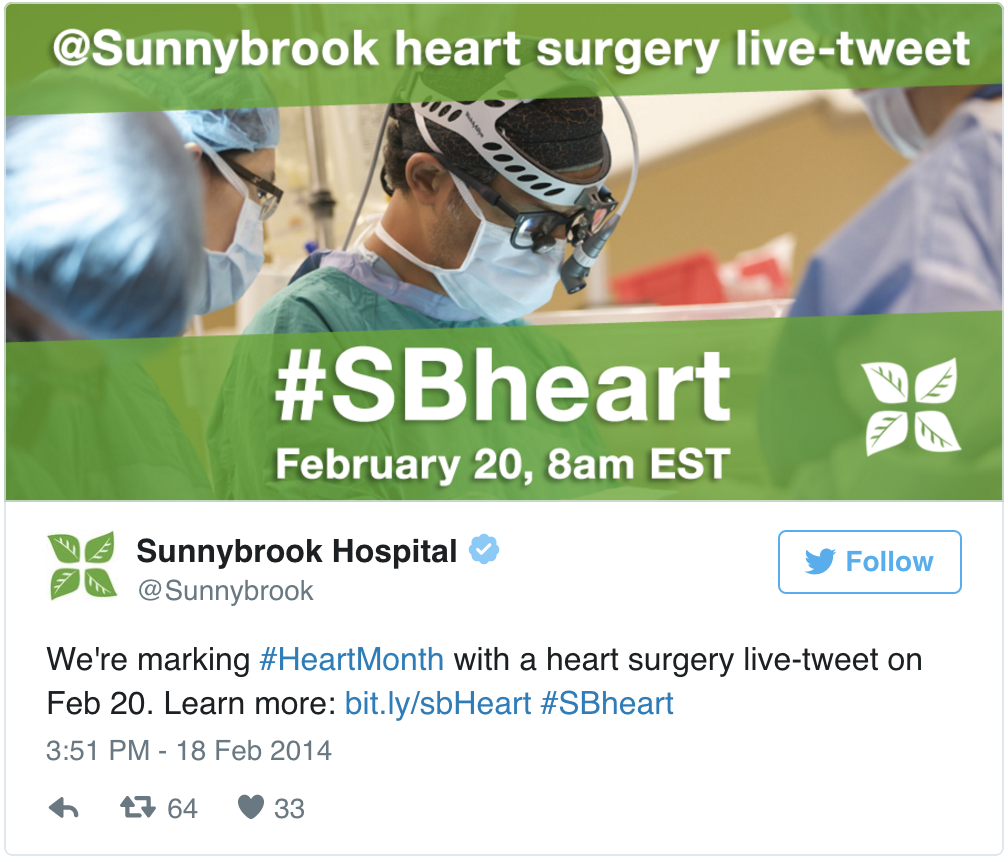 B2B live tweeting, Sunnybrook Hospital on Twitter