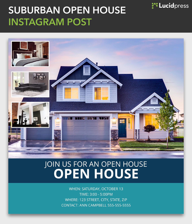 Suburban open house instagram post template lucidpress maxwellsz