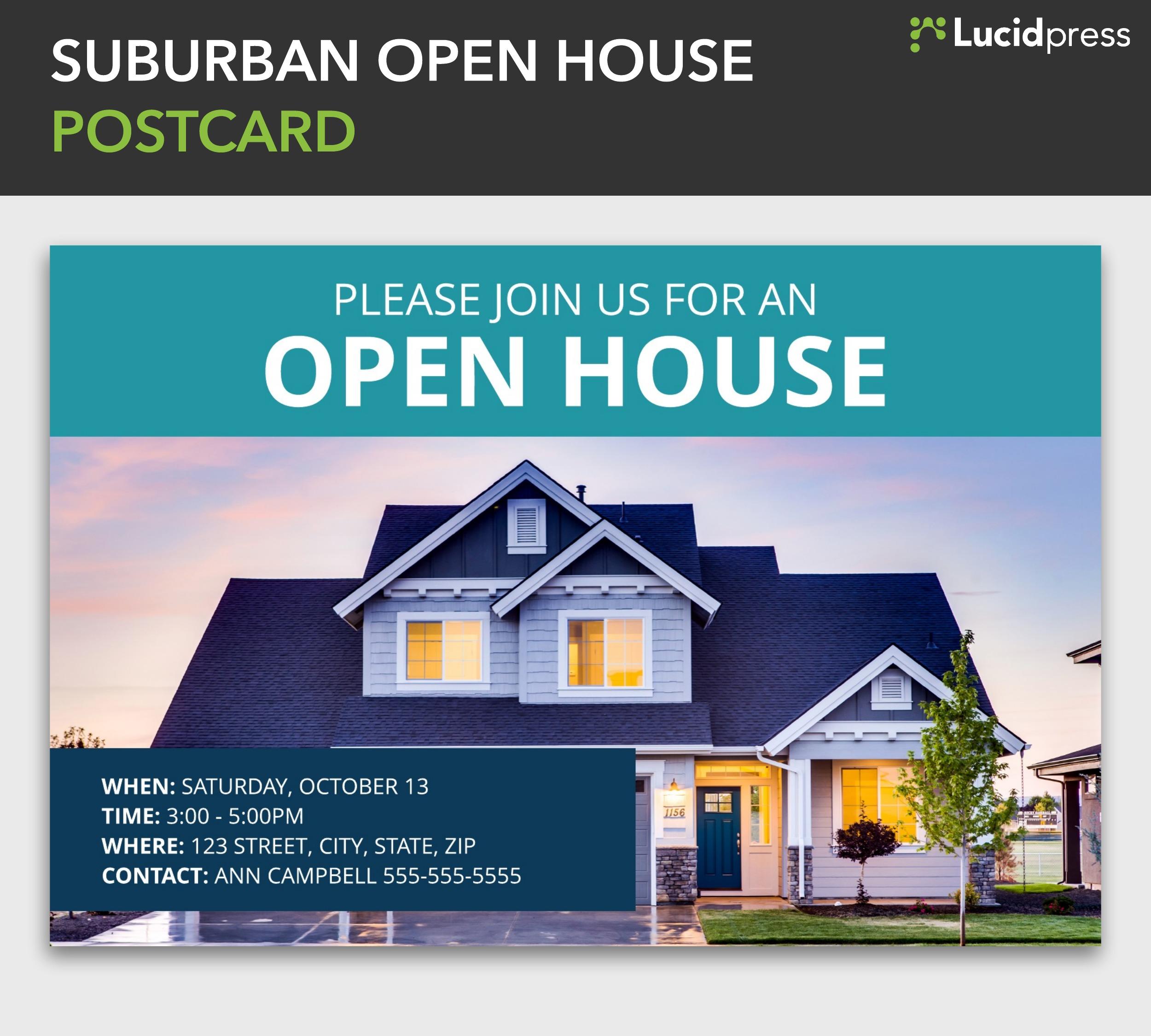 Suburban open house postcard template lucidpress maxwellsz