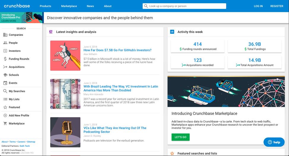 Crunchbase homepage