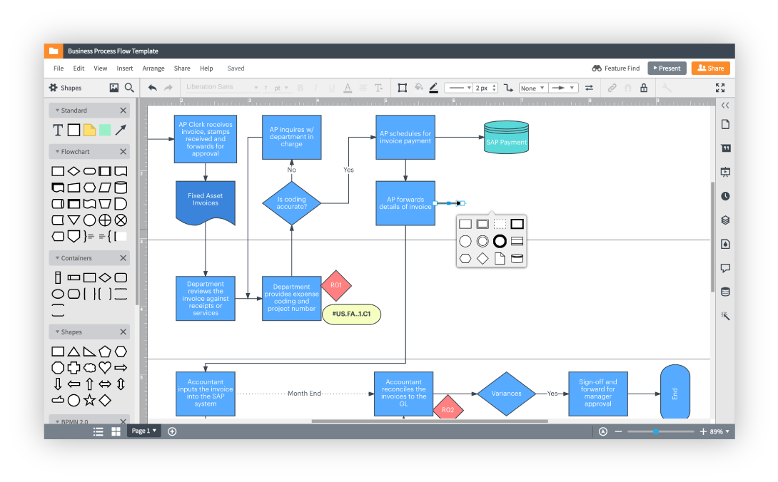 Build flowcharts