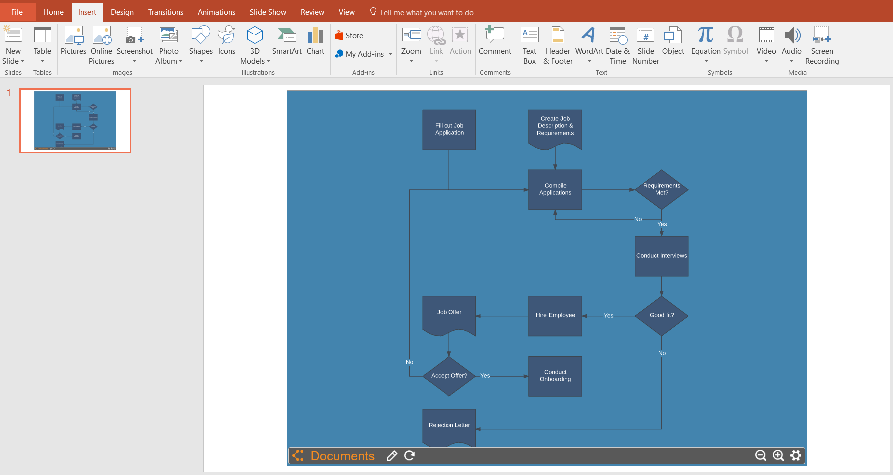 How to make a flowchart in powerpoint lucidchart select your flowchart from your documents to insert into powerpoint geenschuldenfo Choice Image