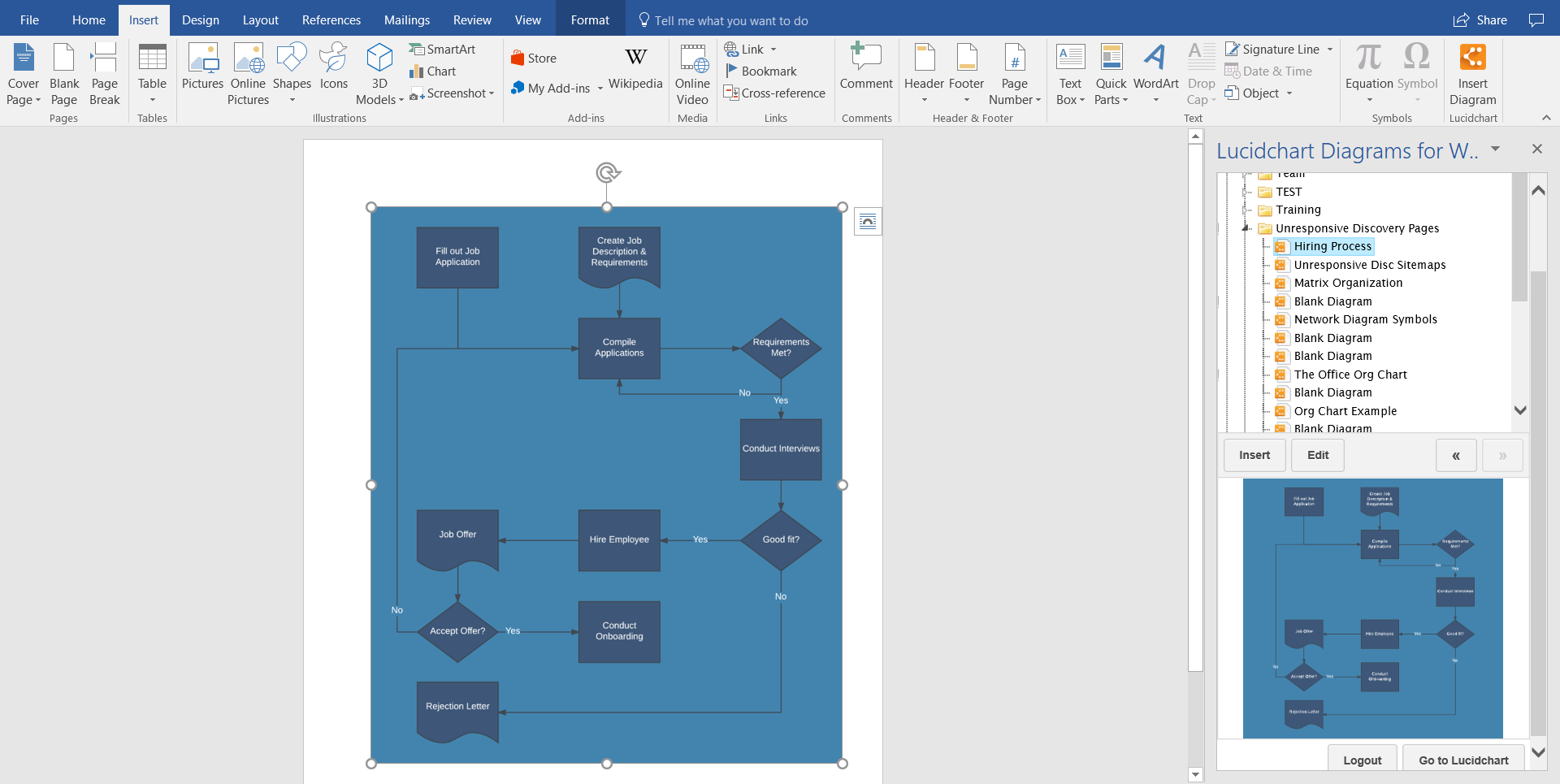 How to make a flowchart in word lucidchart open your word document go to your add ins and select lucidchart within the insert tab ccuart Image collections
