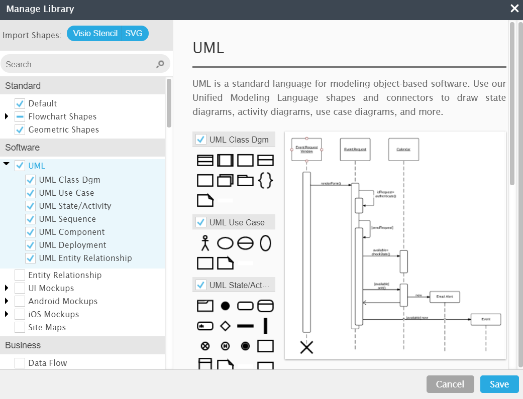 UML shape library