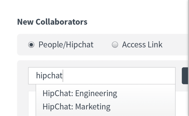 Share diagrams in public or individual Hipchat rooms