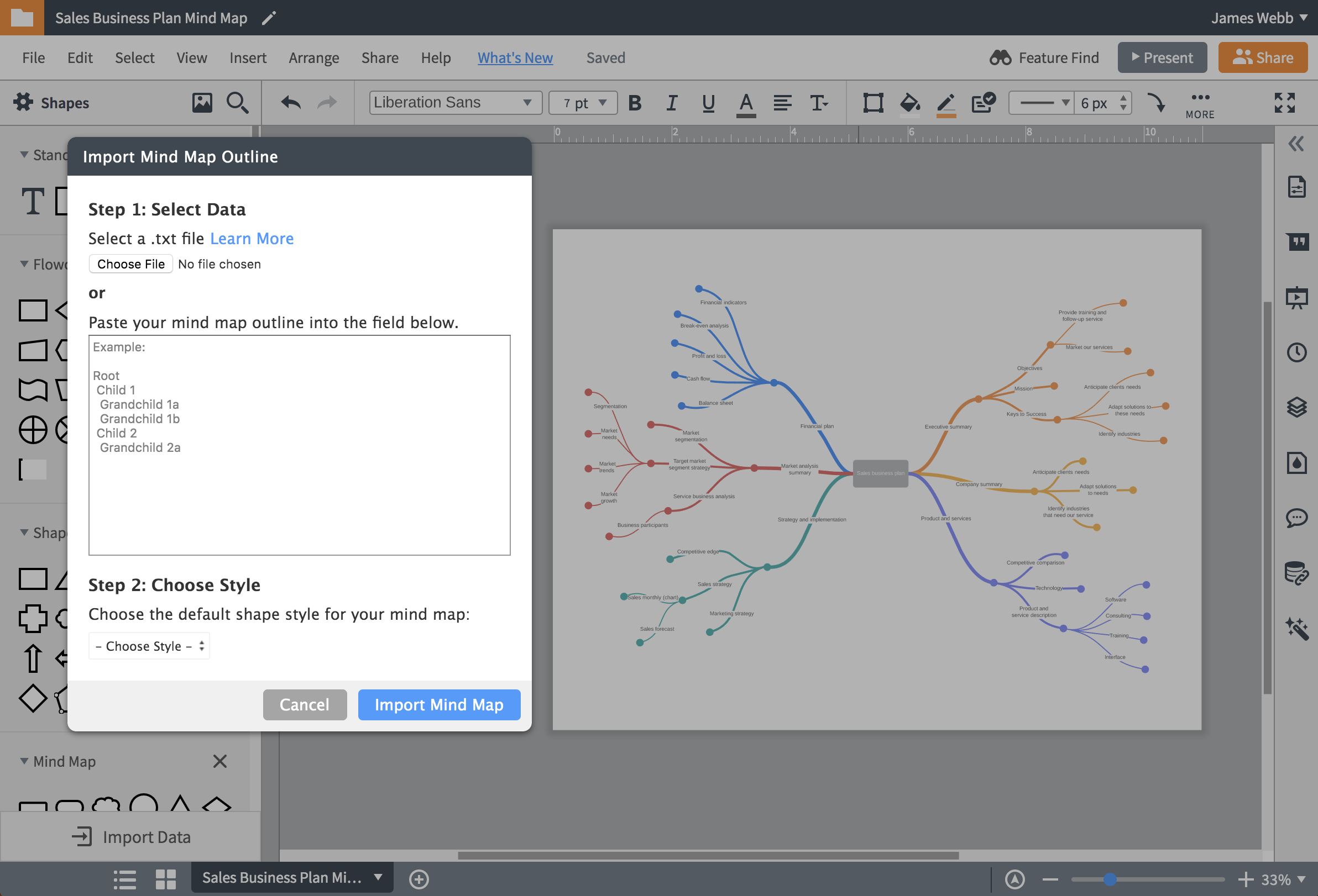import mind map in lucidchart