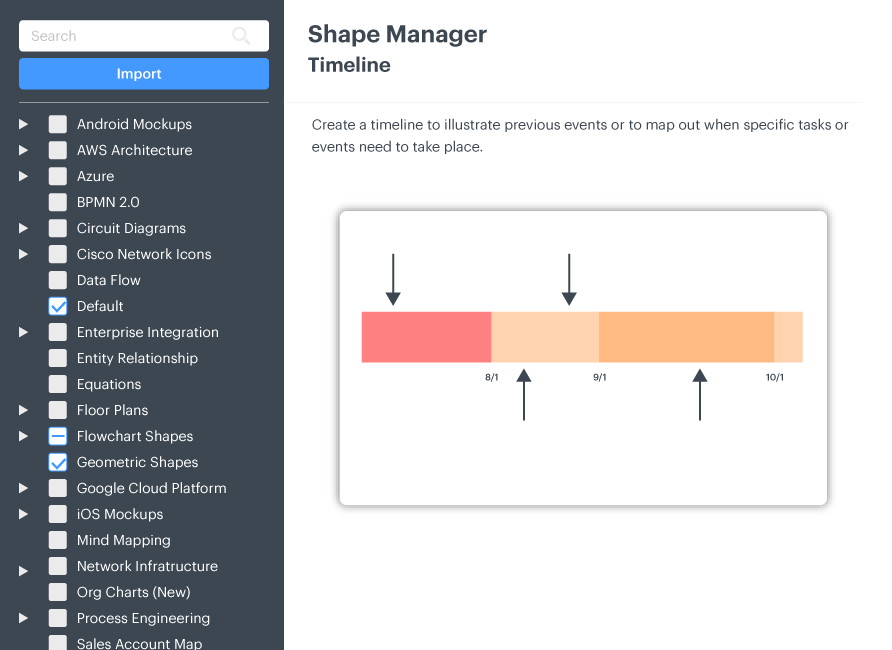 Apply the timeline elements and shapes library
