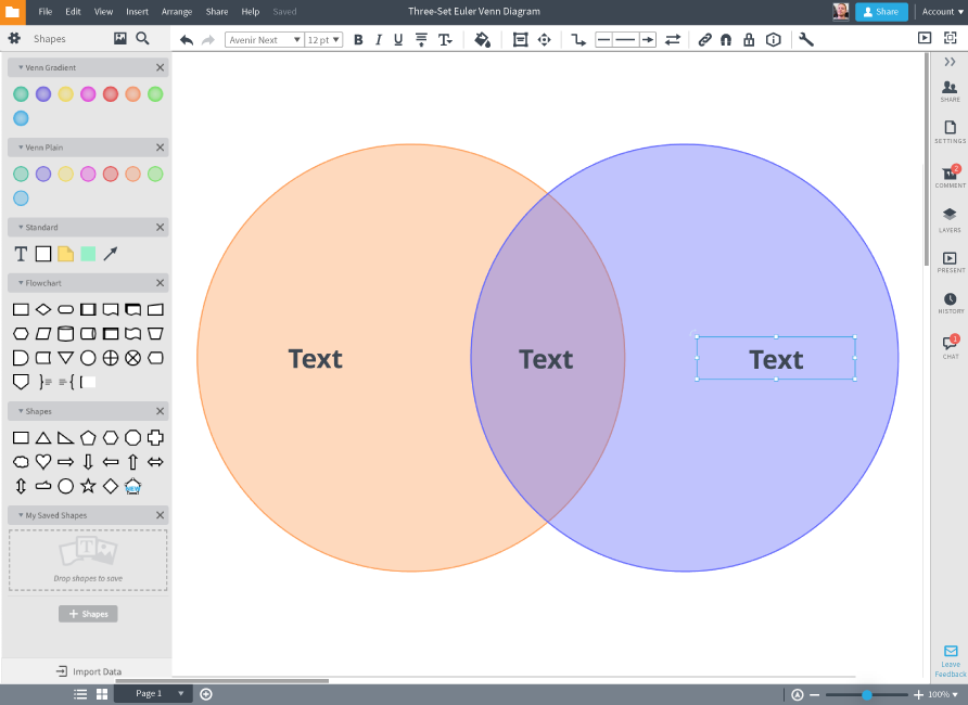 Venn diagram creator in Lucidchart
