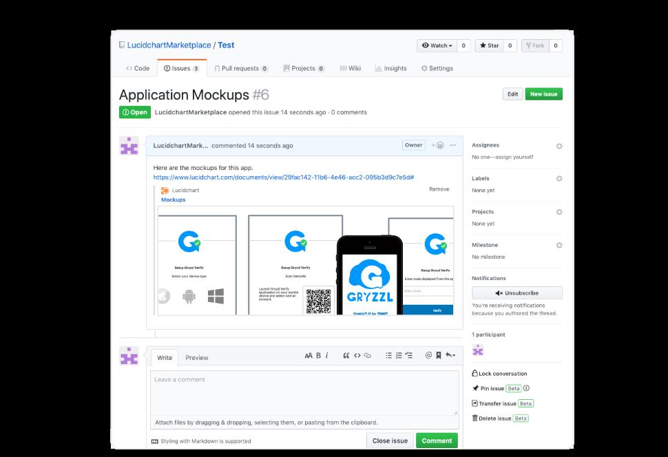 application mockups in GitHub