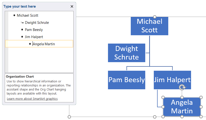 how to add an org chart in powerpoint