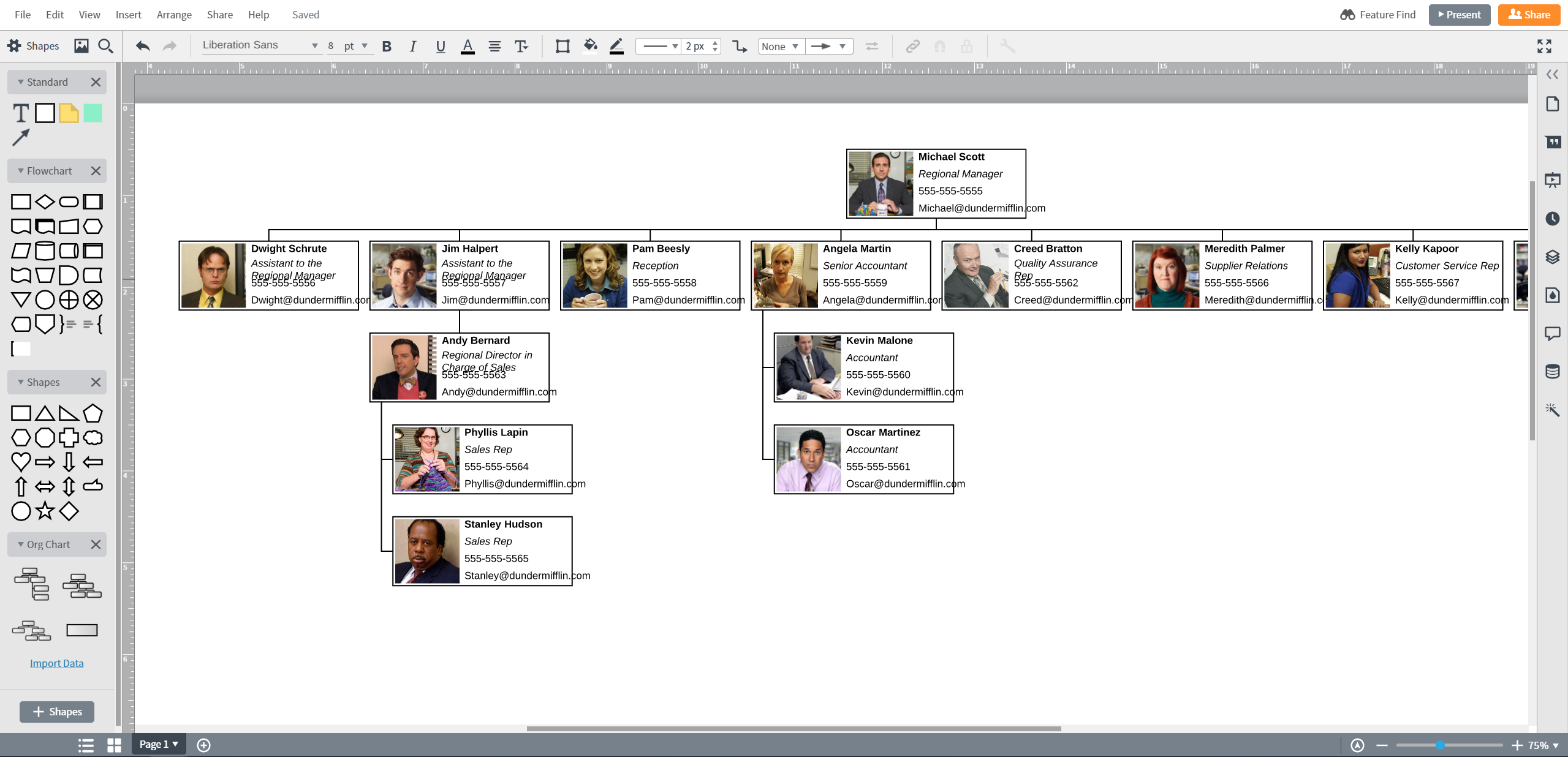 Een organigram maken in PowerPoint - geïmporteerd organigram in Lucidchart