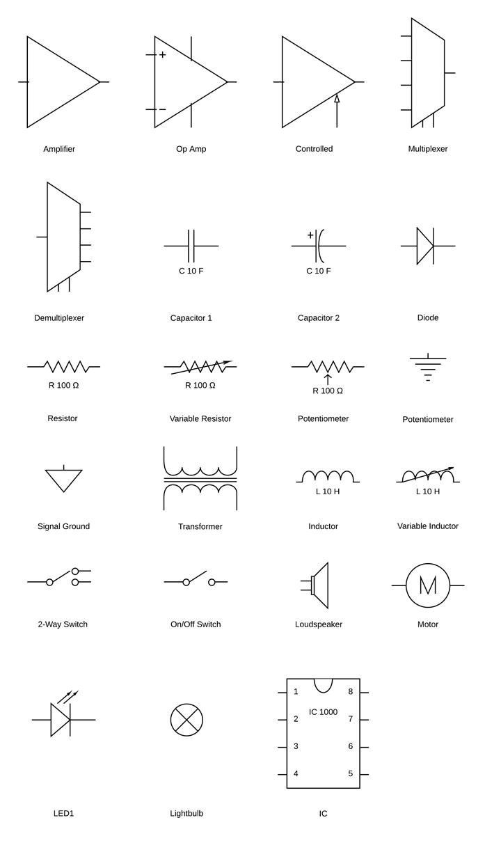 simple wiring diagram symbols circuit diagram symbols | lucidchart