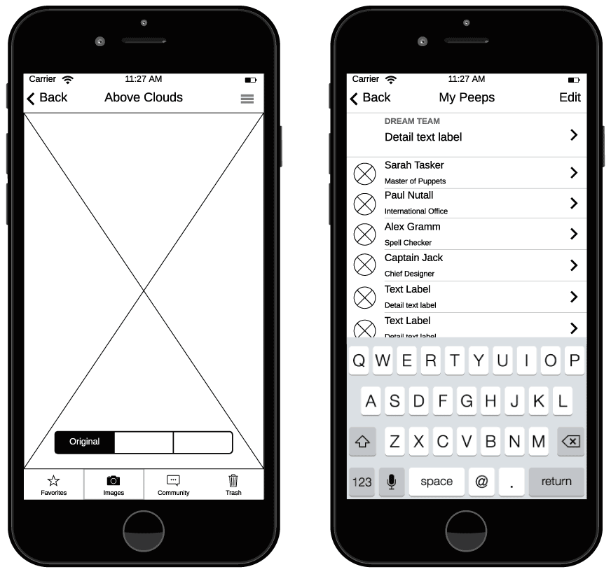 Wireframe de iPhone