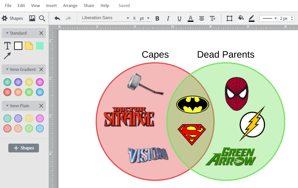 How to create a venn diagram in powerpoint lucidchart superhero venn diagram pooptronica Choice Image