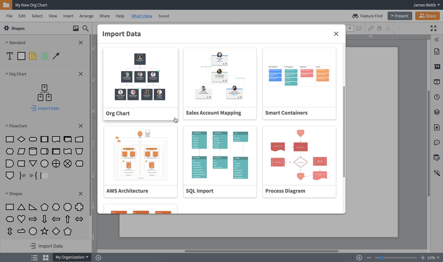 Импортирование данных в органиграмму