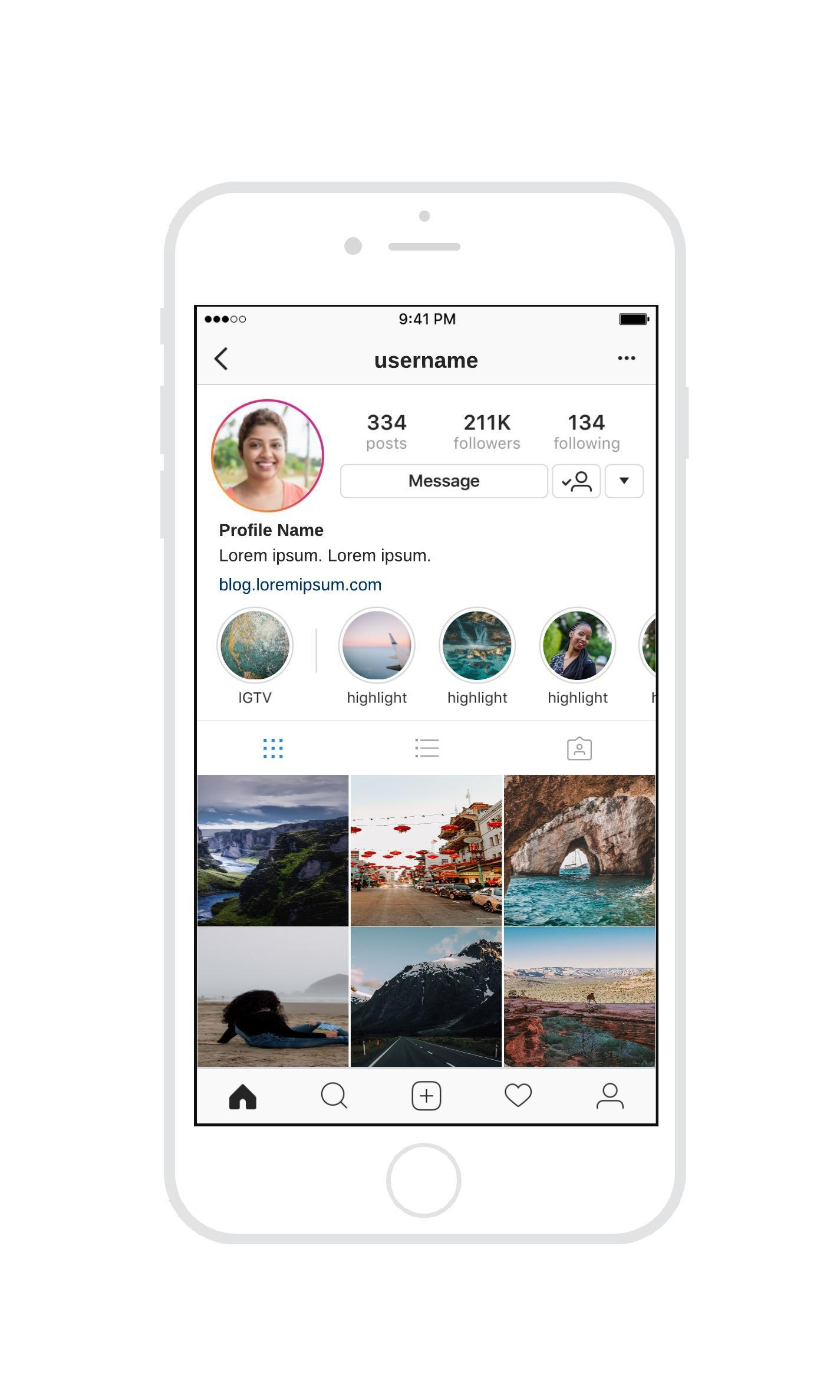 instagram wireframe template