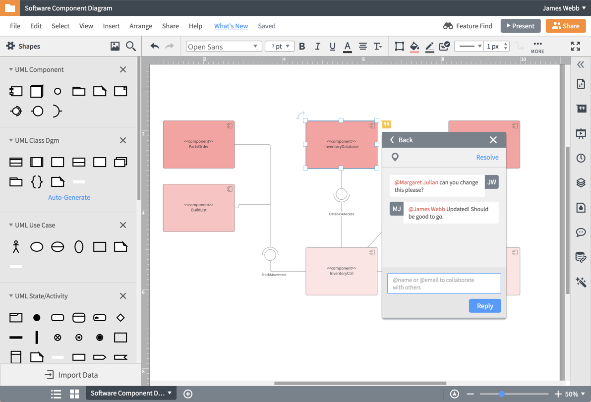 Strumento per diagrammi collaborativi UML