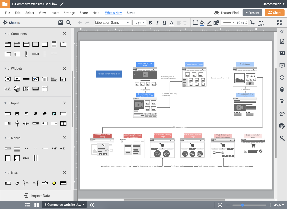lucidchart wireframe software