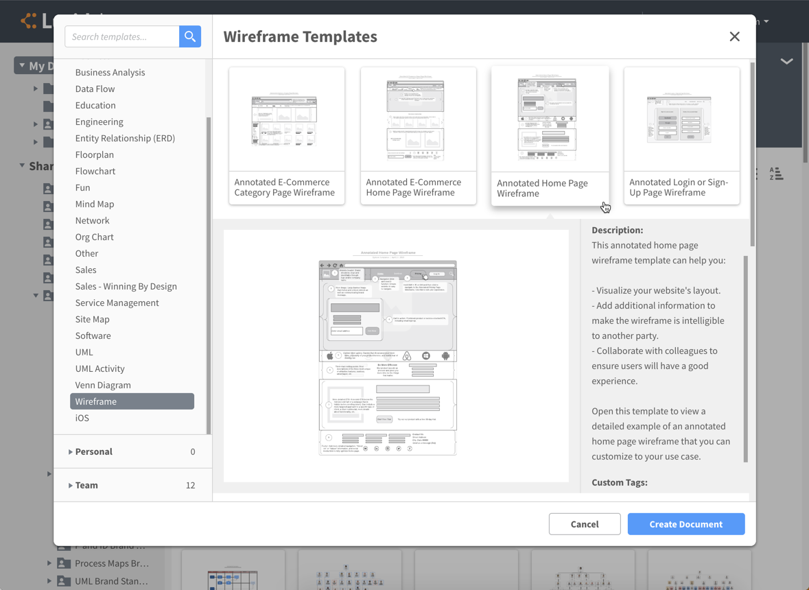 Templates for web pages, user flows, and apps