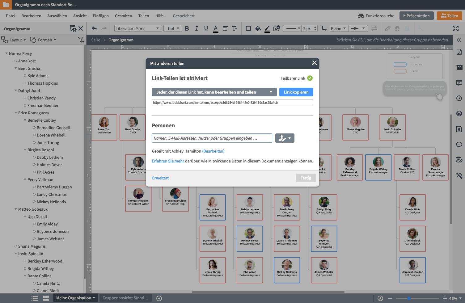 Diagramm-Tool Teamarbeit