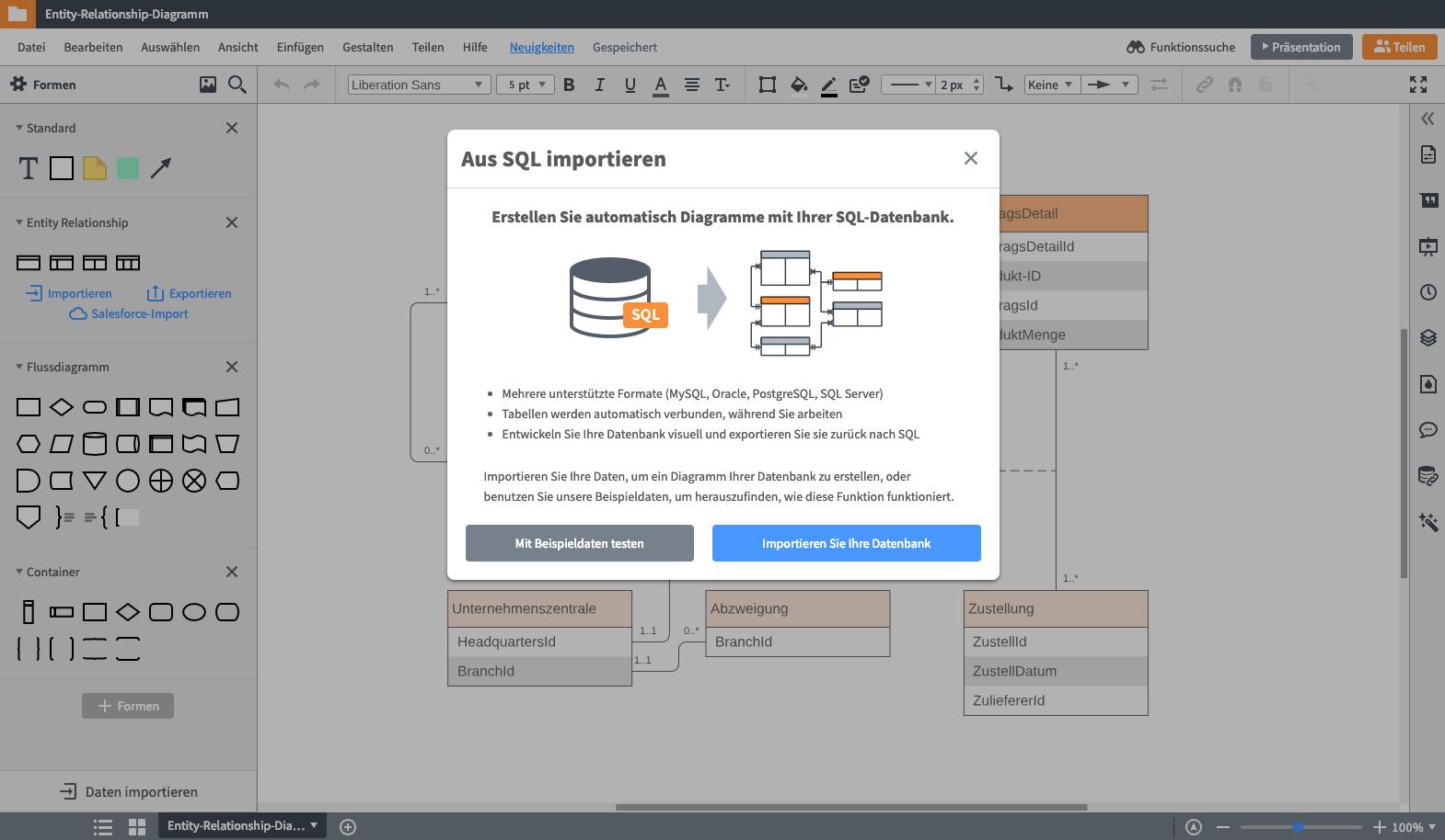 Daten importieren ER Diagramm