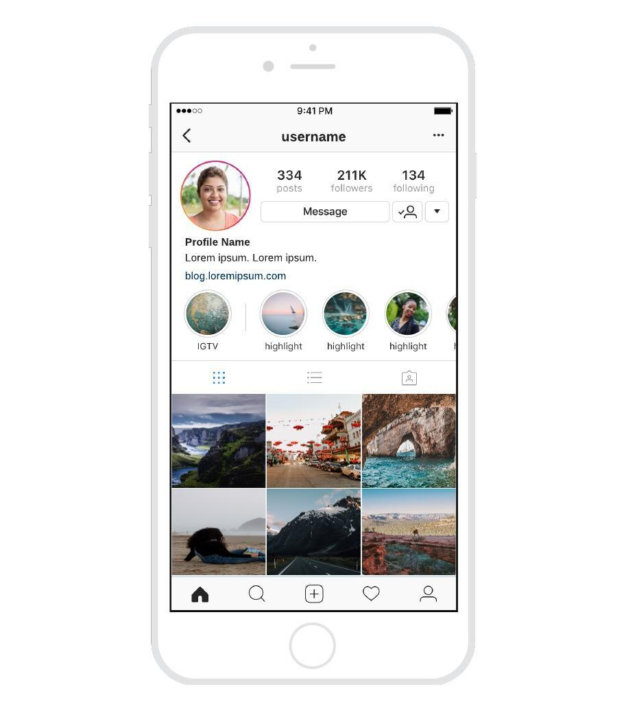 Wireframe für Instagram