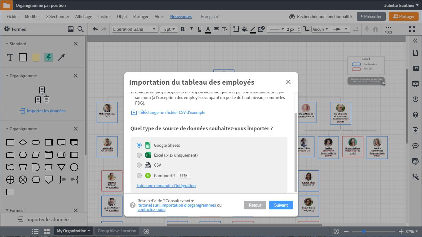 Exporter vos diagrammes dans BambooHR