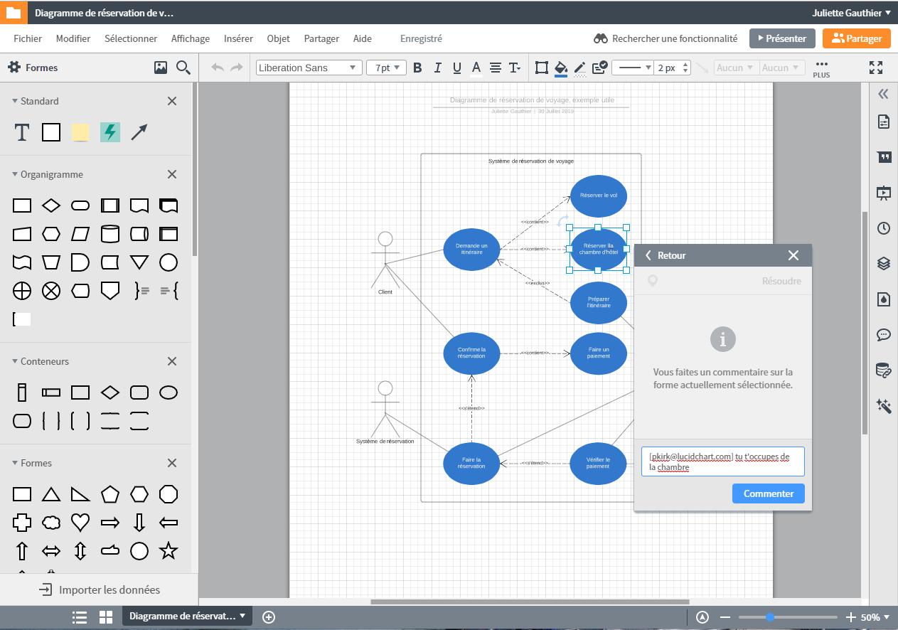 Travailler ensemble sur un diagramme uml en ligne gratuitement