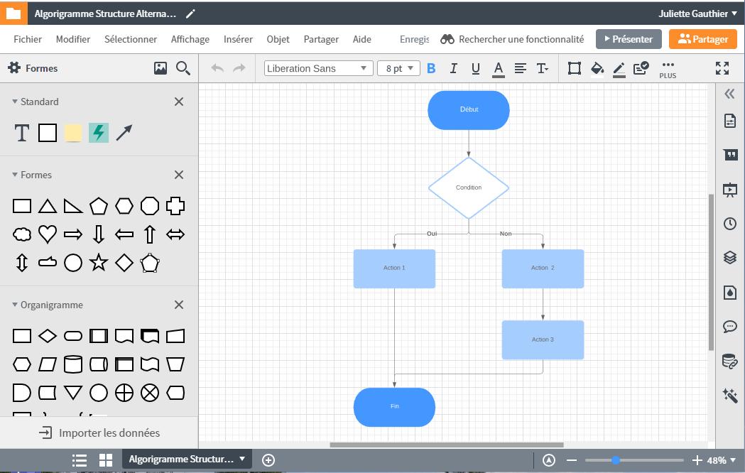 Créer des algorigrammes avec différentes structures