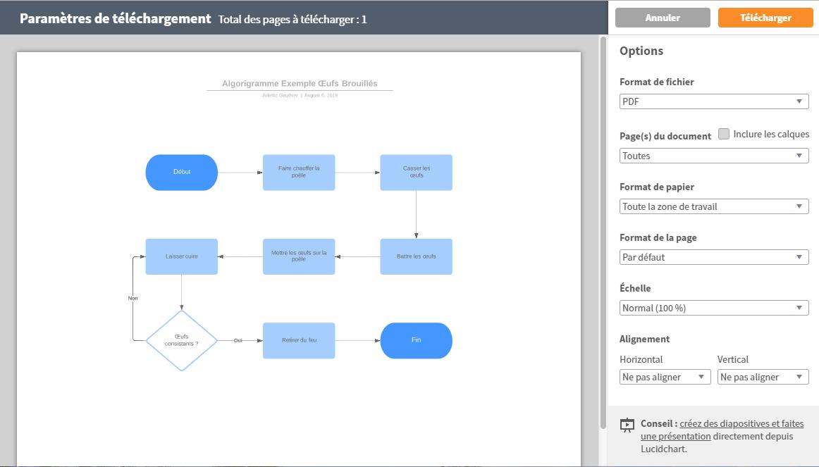 Exporter vos algorigrammes dans le format voulu