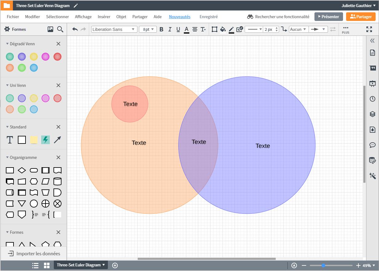 Faire un diagramme de Venn en ligne avec Lucidchart