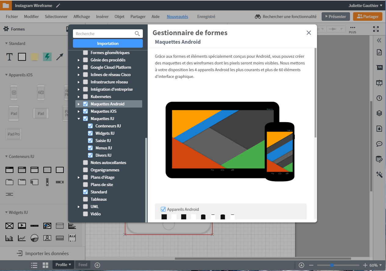 Exemples de forme pour wireframe