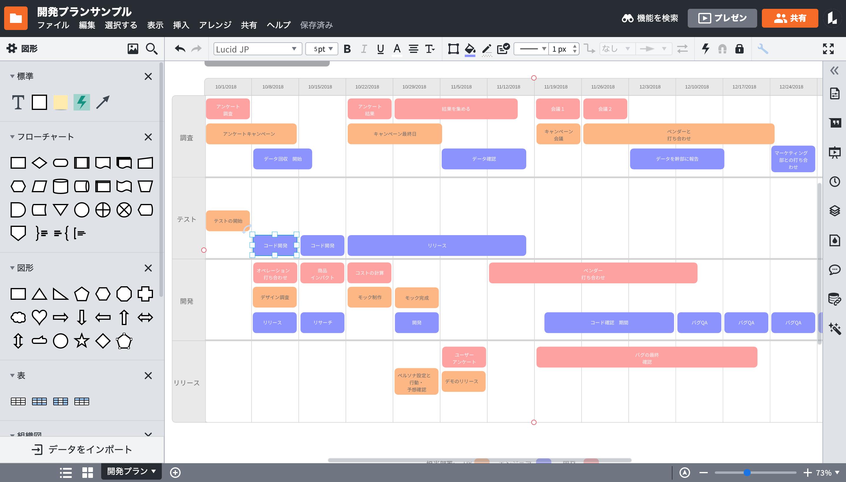 ガントチャートやプレゼンも、様々な作業に向いていプロジェクト管理ツール