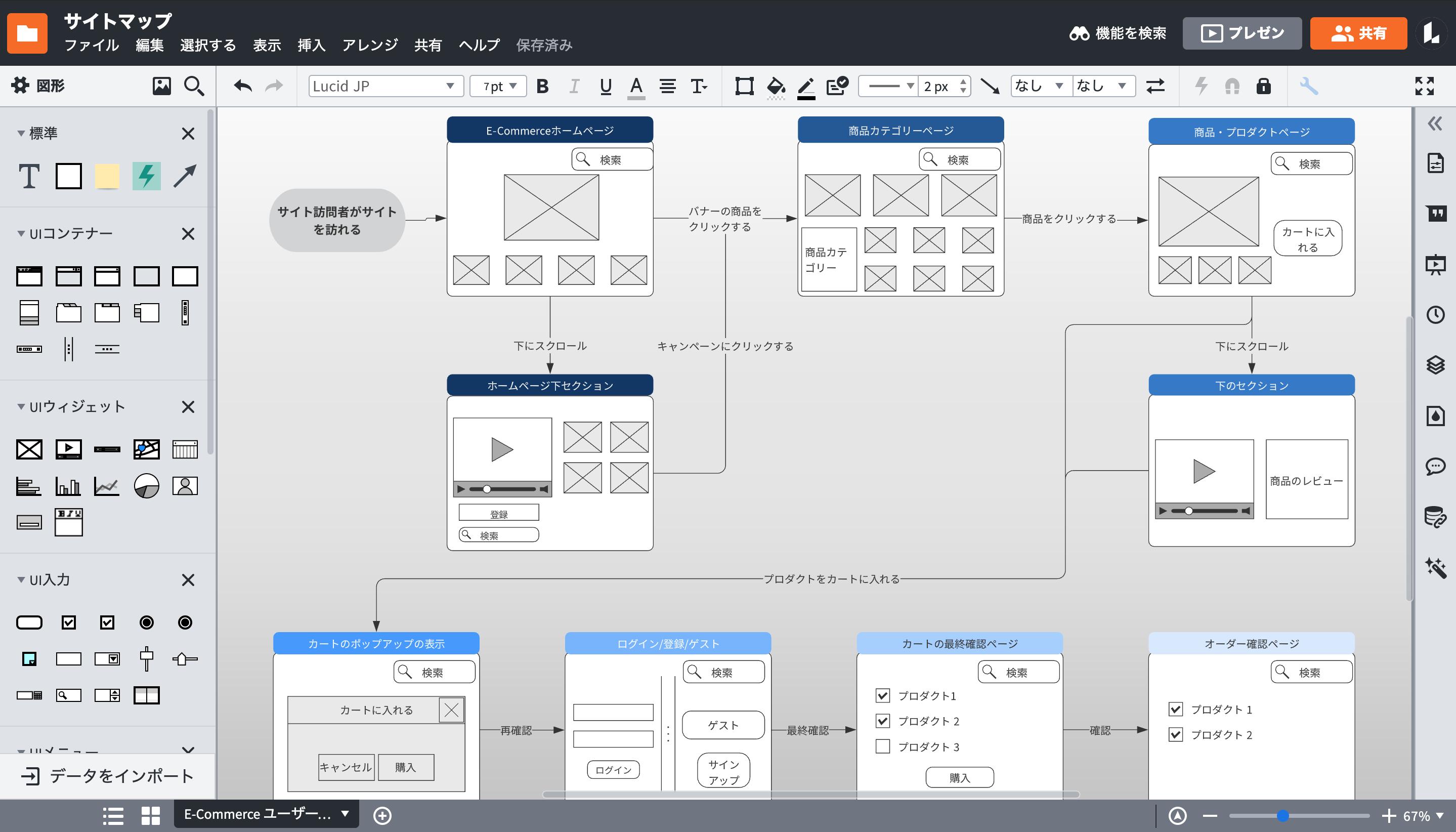 サイトマップテンプレートも豊富な構成図作成ツール