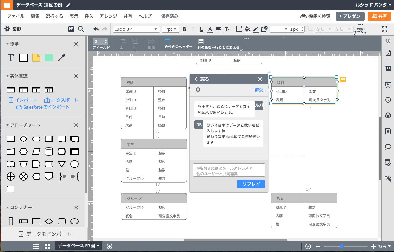 オンライン同時作業も可能にするER図ツール