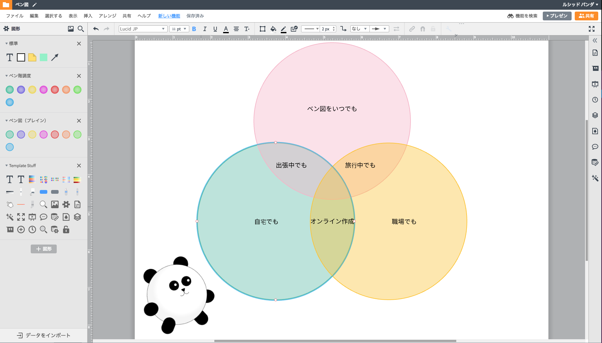 3つの円のベン図作成