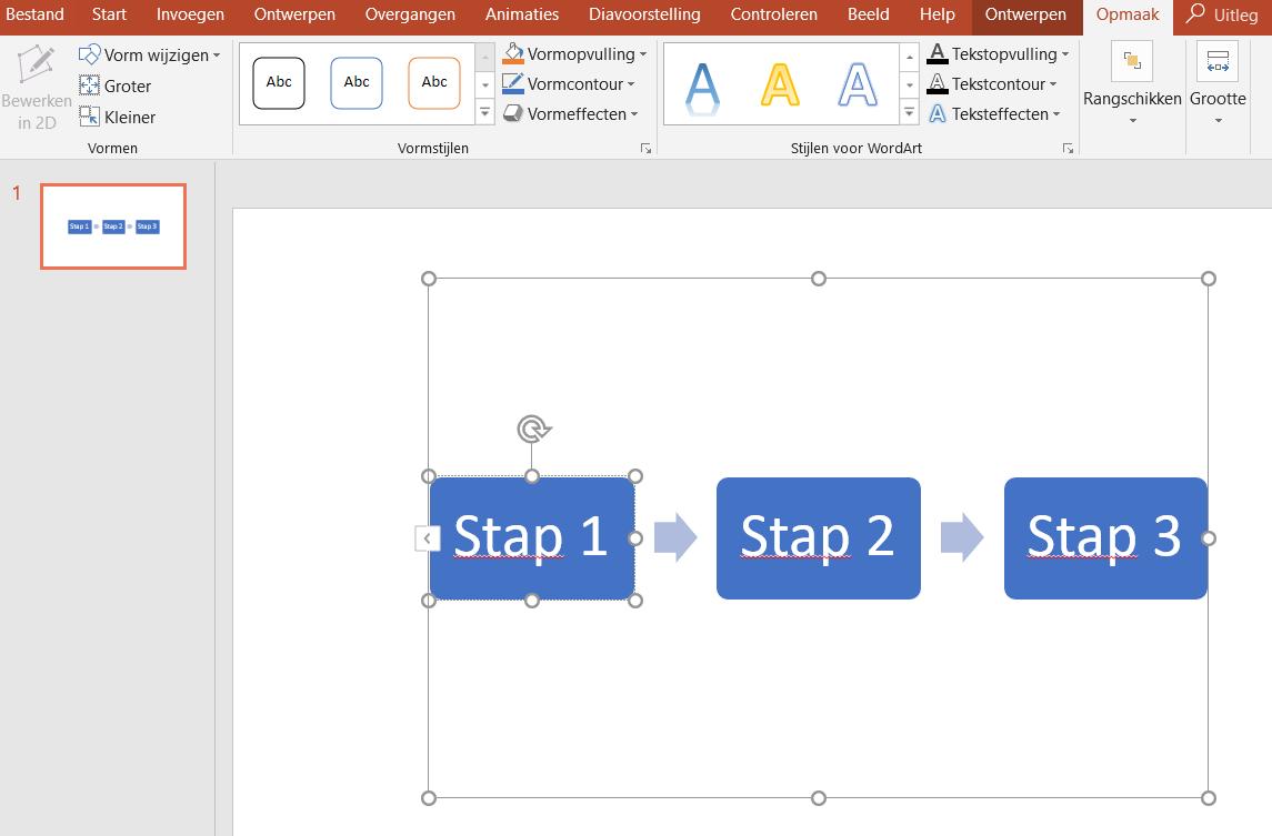 Een stroomdiagram maken in PowerPoint - Opmaak van SmartArt