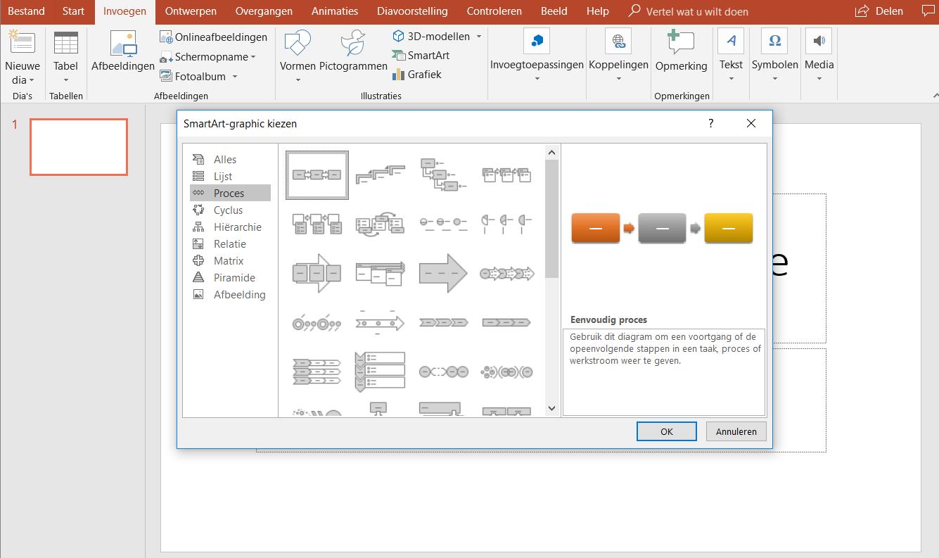 Een stroomdiagram maken in PowerPoint - Menu Afbeeldingen