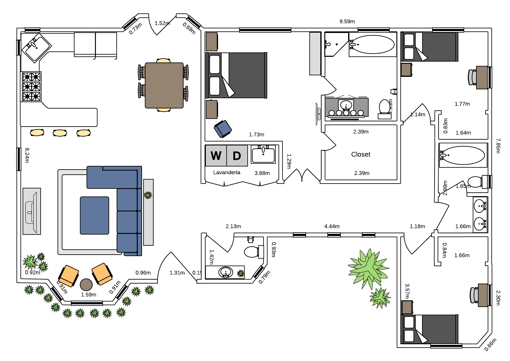 Planta de casa com três quartos