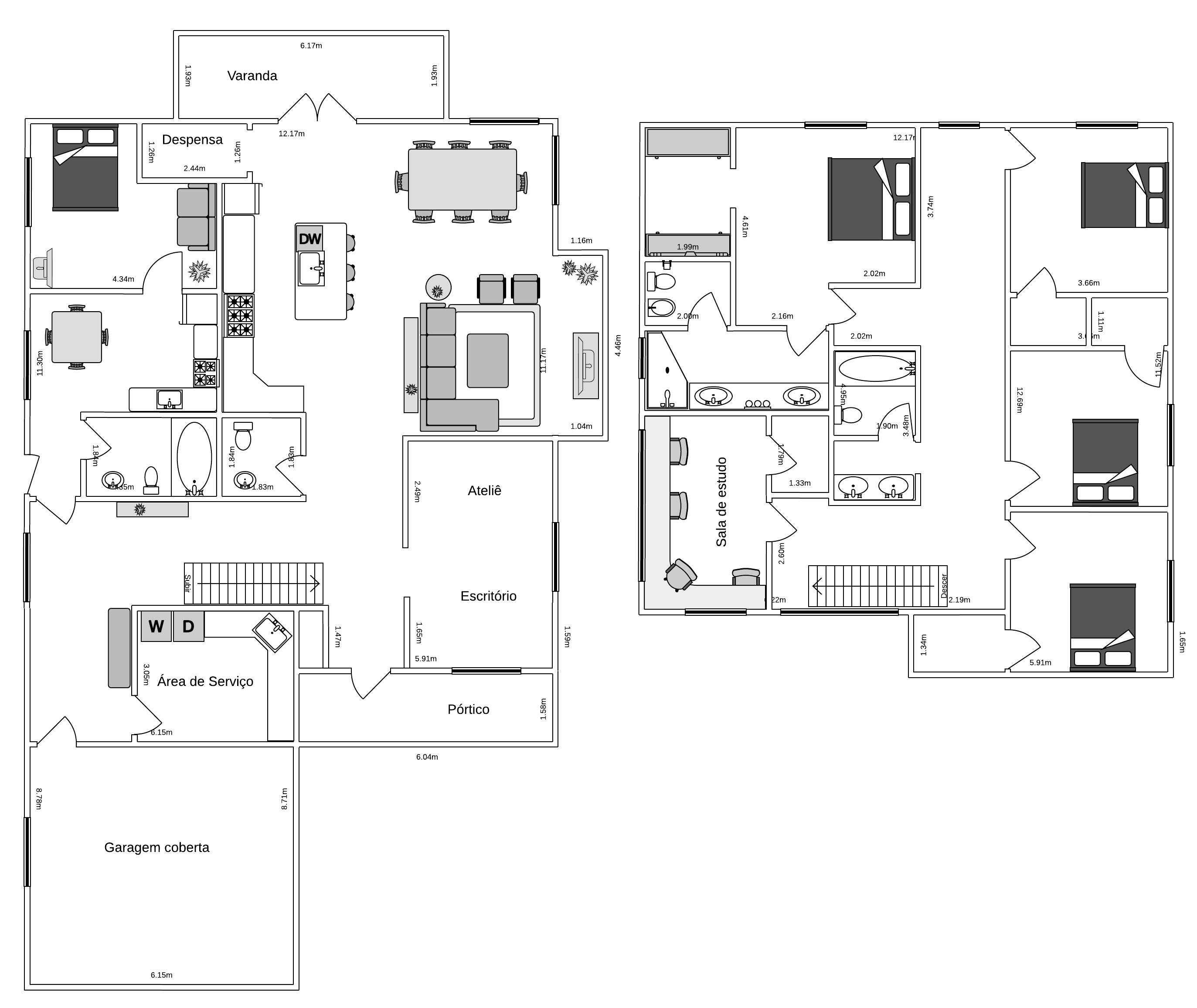 Planta de casa com quatro quartos