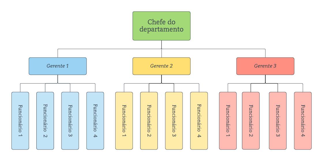 Exemplo de estrutura organizacional horizontal