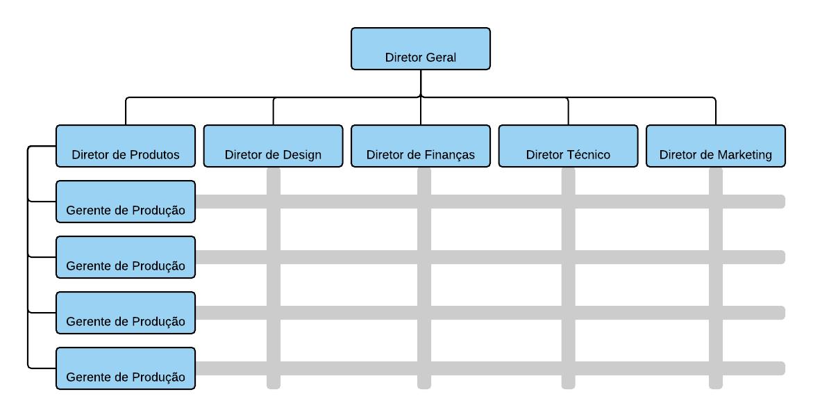 Exemplo de estrutura organizacional matricial