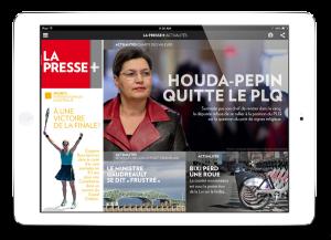 ipad with La Presse/> </div>  <div class=