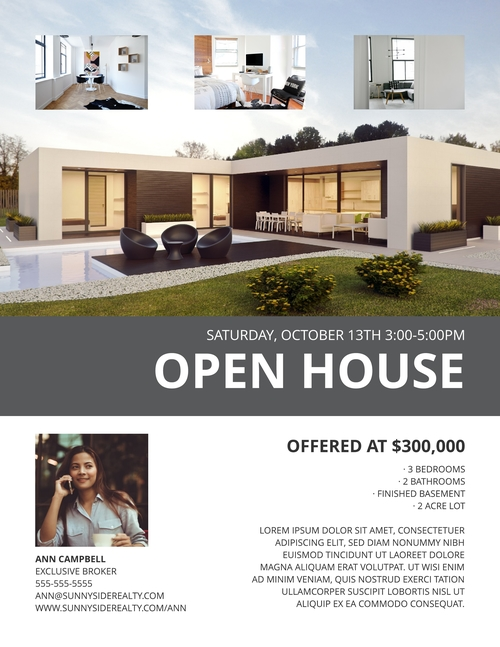 modern open house flyer template